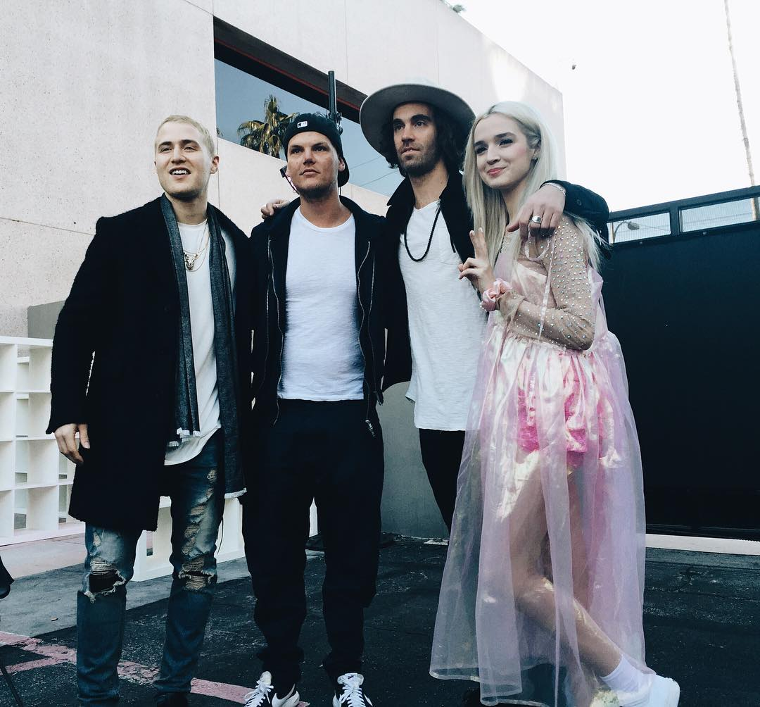 Mike Posner, Avicii, Zac Barnett (American Authors), and Poppy at iHeartRadio - Universal Studios in Los Angeles, CA on February 3, 2016.