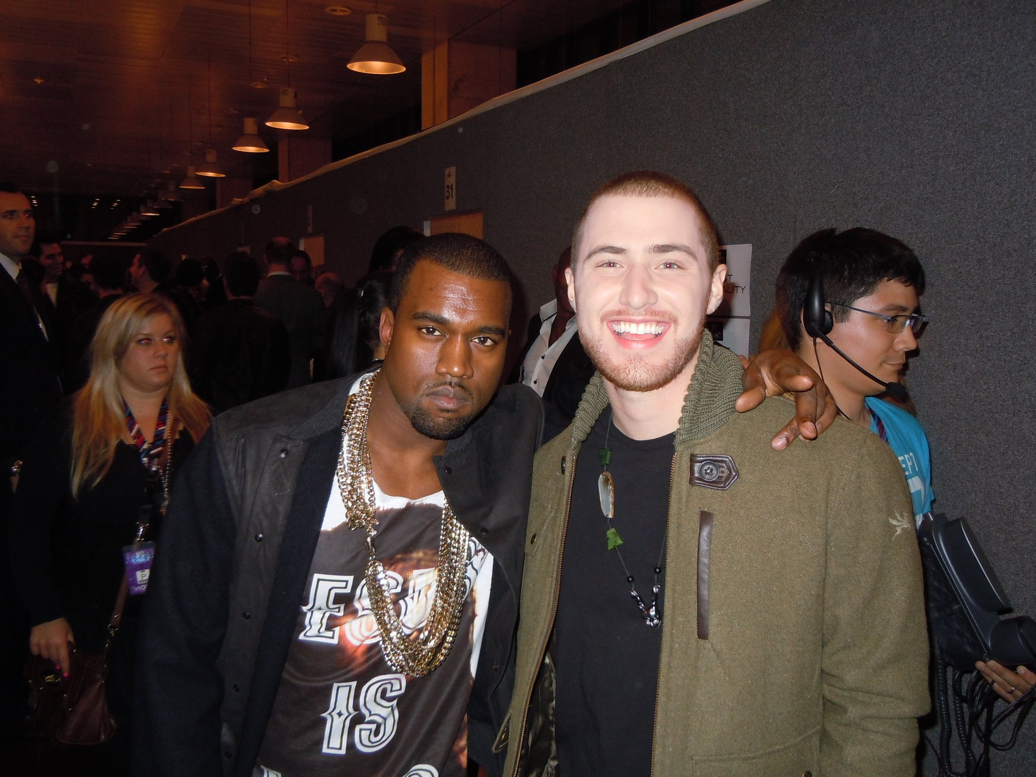Kanye West and Mike Posner at the MTV Europe Music Awards in 2010.