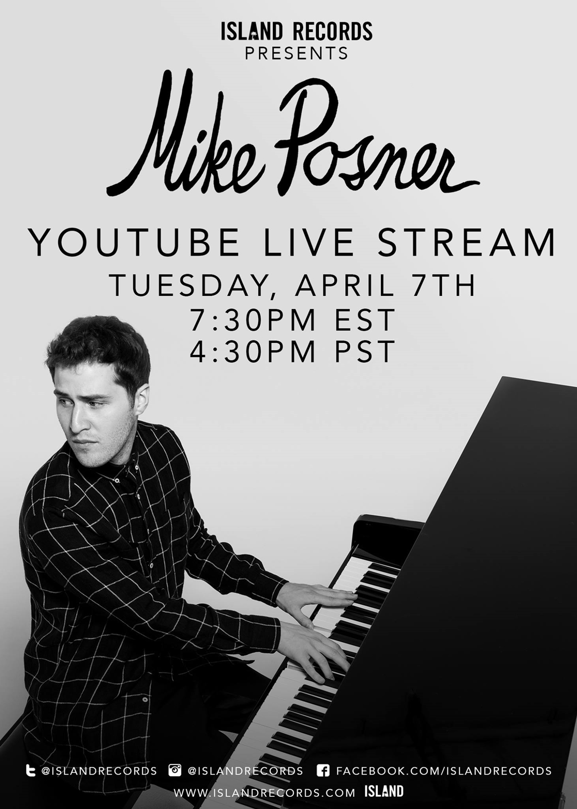 Mike Posner to Premiere New Music Live on YouTube April 7, 2015