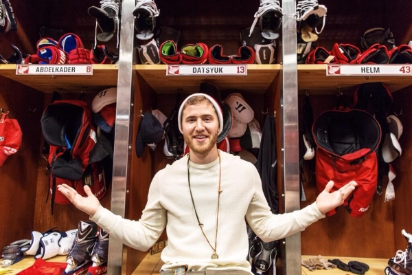 Mike Posner Attends Detroit Red Wings Vs. Boston Bruins Game