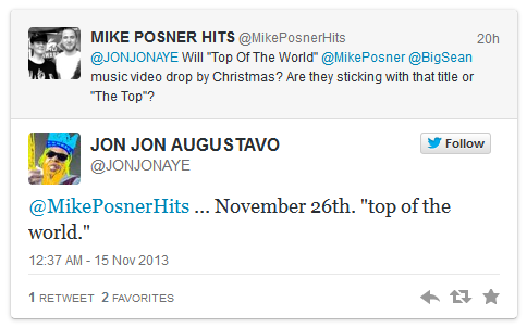 """Mike Posner – """"Top of the World"""" (feat. Big Sean) Out November 26!"""