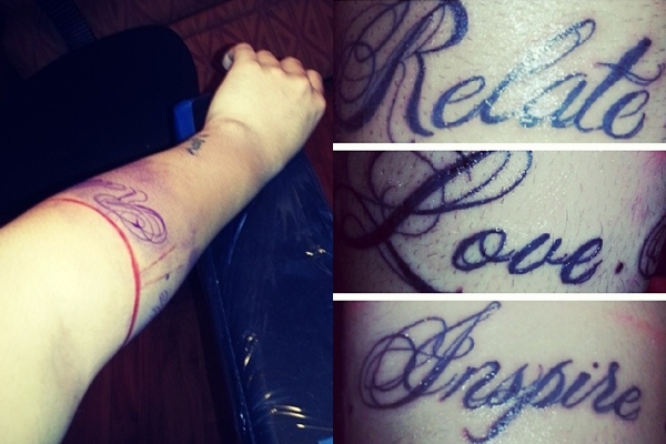 Fan #2 Gets Tattoo of Mike Posner's Motto 'Relate. Love. Inspire.'