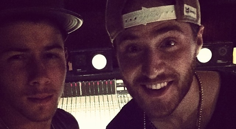 Mike Posner in the Recording Studio with Nick Jonas