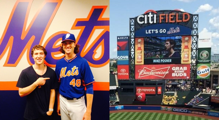Mike Posner at New York Mets Game, Meets Jacob deGrom