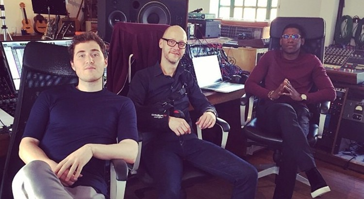 Mike Posner, Martin Terefe, and Labrinth in a recording studio
