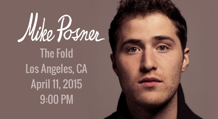 Mike Posner, Bright Light Bright Light to Perform at The Fold – Los Angeles