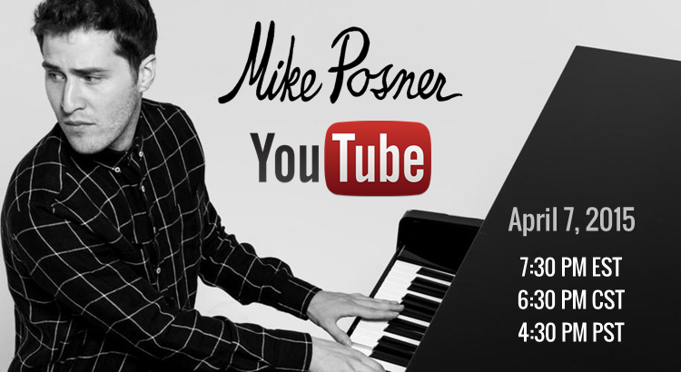 Mike Posner to Premiere New Music Live on YouTube – April 7
