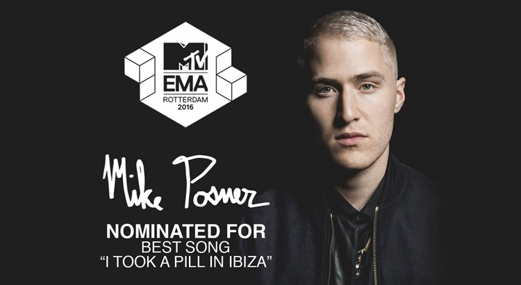 Mike Posner Receives 2016 MTV EMA Nomination - VOTE NOW!