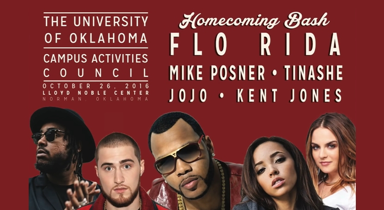 Mike Posner to Perform at The University of Oklahoma Homecoming Bash 2016 – October 26