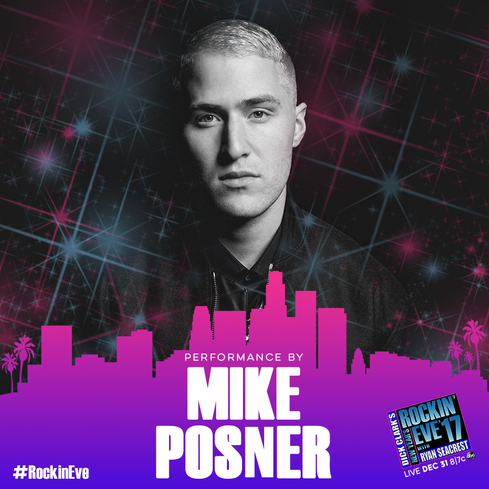 Mike Posner to Perform on Dick Clark's New Year's Rockin' Eve with Ryan Seacrest 2017