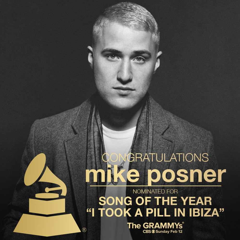 Mike Posner Receives 2017 GRAMMY Award Nomination