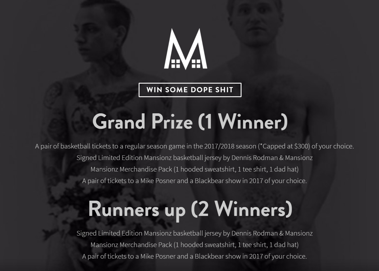 Enter Mansionz Merchandise Sweepstakes!
