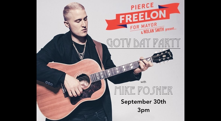 Mike Posner to Perform at Pierce Freelon Mayoral Campaign Fundraiser – September 30