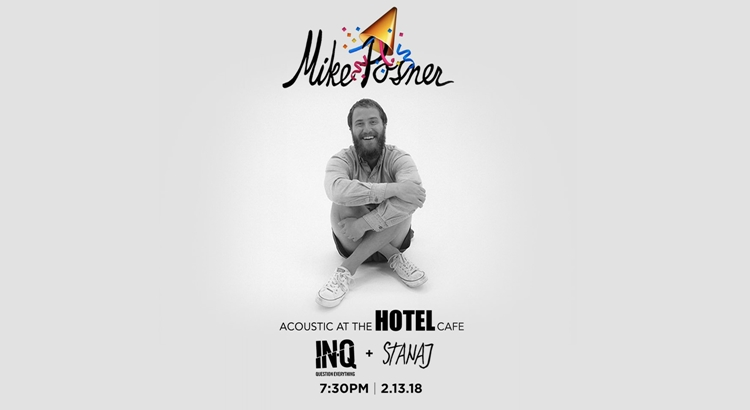 Mike Posner Announces Birthday Acoustic Show at The Hotel Café - February 13