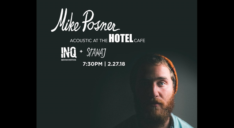 Mike Posner Announces Acoustic Show at The Hotel Café – February 27